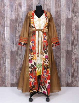 Wonderful Brown color palazzo suit