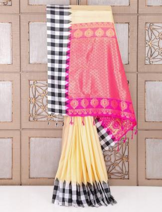 Wonderful Cream color party wear silk saree
