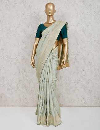 Wonderful green saree in dola silk