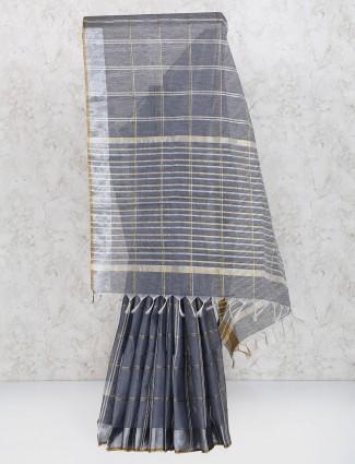 Wonderful grey cotton silk festive saree