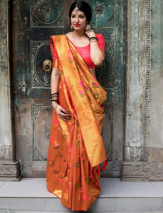 Wonderful orange hue kanjivaram silk saree