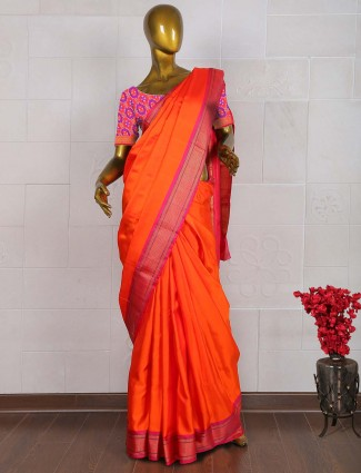 Wonderful orange pure south silk sare