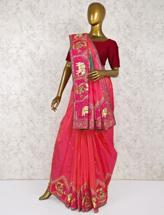 Wonderful pink color silk wedding saree