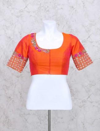 Wonderful orange wedding wear ready made blouse