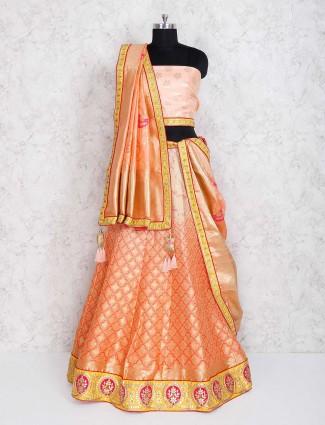 Wonderful peach semi stitched lehenga choli for wedding