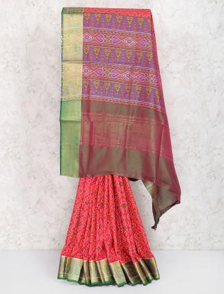 Wonderful red semi silk festive saree