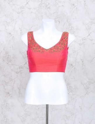 Wonderful red silk fabric ready made blouse