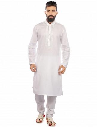 Wonderful white cotton festive wear Kurta Suit
