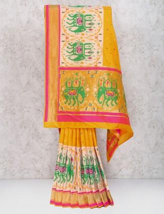 Wonderful yellow hue semi silk saree