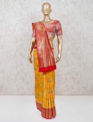 Wonderful yellow saree in dola silk