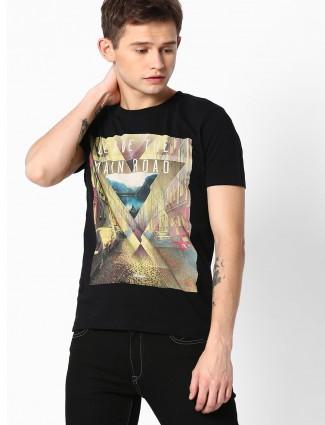 Wrangler cotton printed slim fit black t-shirt
