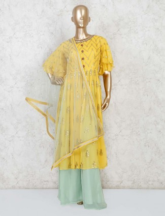 Yellow anarkali kameez with pista green palazzo