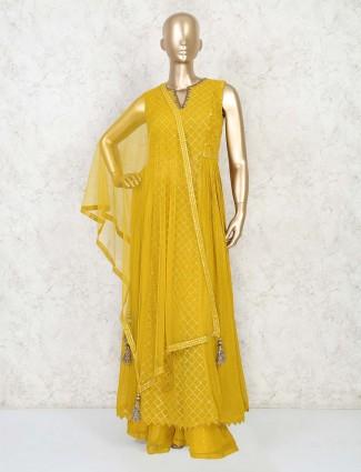 Yellow anarkali suit with palazzo