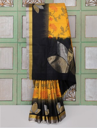Yellow and black color party wear saree