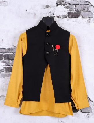 Yellow and black color waistcoat set for boys