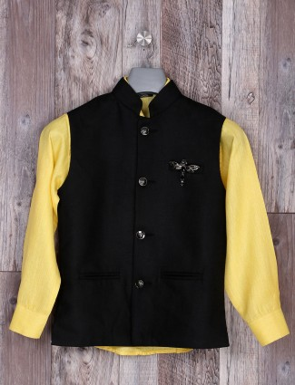 Yellow and black hue jute waistcoat