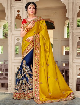Yellow and blue half and half saree