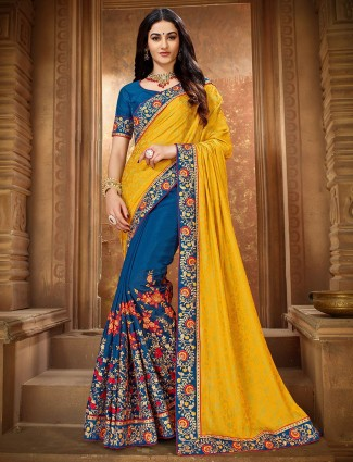 Yellow and blue half and half saree for wedding