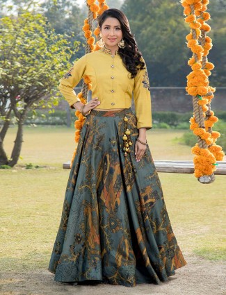 Yellow and blue printed cotton silk lehenga choli