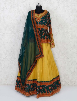 Yellow and blue printed peplum style georgette lehenga choli