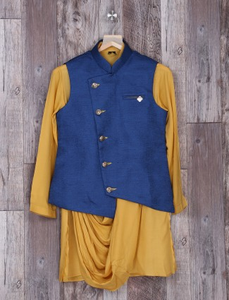yellow and blue two piece waistcoat set