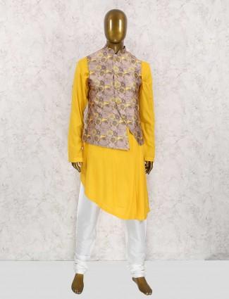 Yellow and brown printed waistcoat set