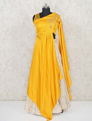 Yellow and cream  asymmetric lehenga style salwar suit in cotton silk