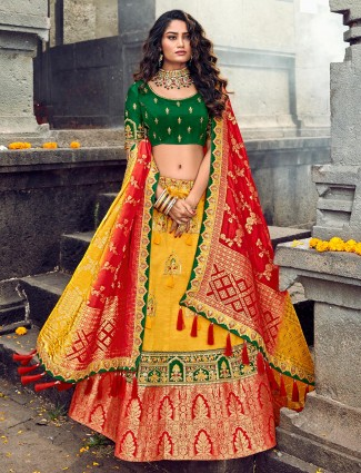 Yellow and green banarasi lehenga choli for bride in silk