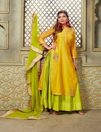 Yellow and green chanderi silk indo western