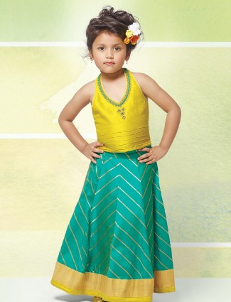 Yellow and green color choli suit