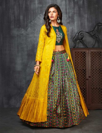 Yellow and green cotton silk party indo western suit