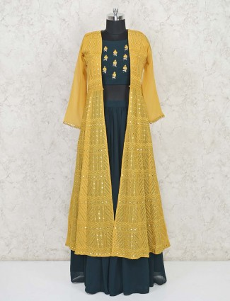 Yellow and green georgette jacket style lehenga suit