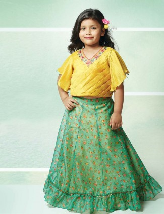 yellow and green printed lehenga choli