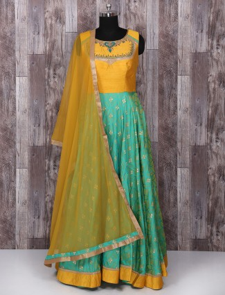 Yellow and green silk anarkali suit