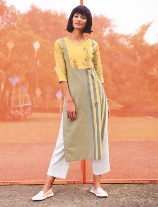 Yellow and grey cotton kurti in stripe