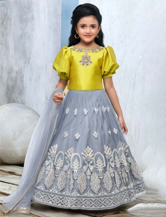 Yellow and grey embroidered lehenga choli in net