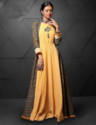 Yellow and grey jacket style kurti