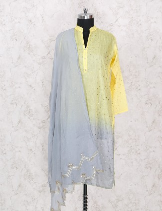 Yellow and grey salwar suit