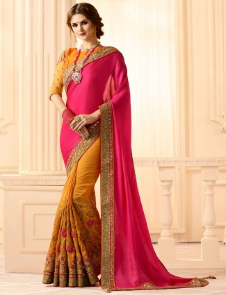 Yellow and magenta half and half saree