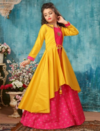 Yellow and magenta jacket style cotton silk lehenga choli