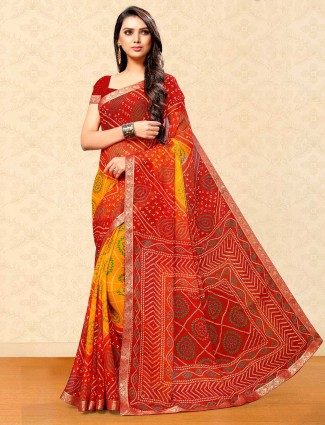 Yellow and maroon georgette for festival