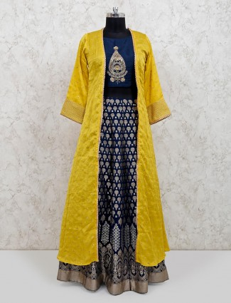 Yellow and navy indo western raw silk lehenga suit