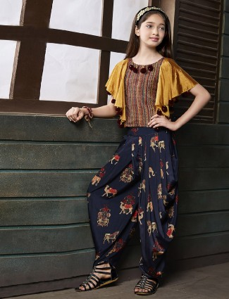 Yellow and navy silk dhoti suit