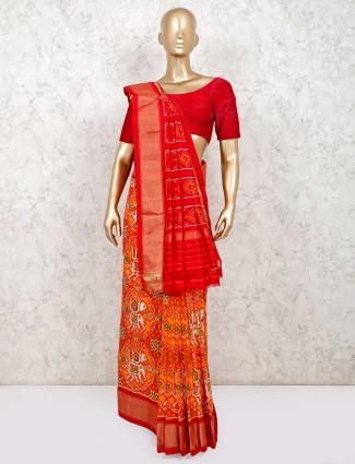 Yellow and orange hydrabadi patola silk saree design