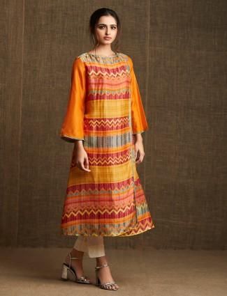 Yellow and orange printed kurti in cotton