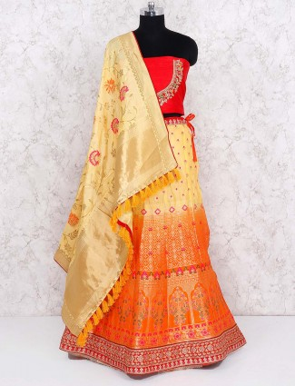 Yellow and orange shaded semi stitched lehenga choli