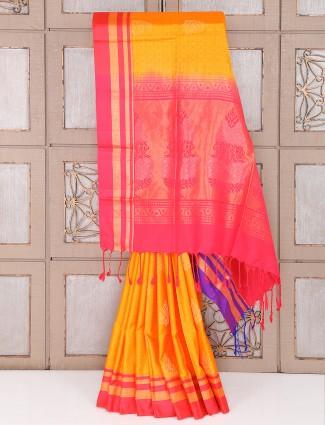 Yellow and pink color silk fabric saree