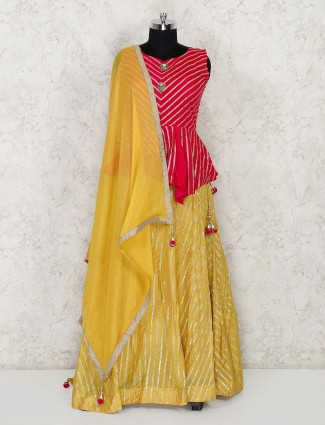 Yellow and pink cotton silk festive lehenga choli in cotton silk