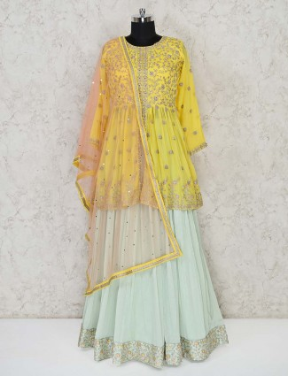 Yellow and pista green georgette punjabi lehenga suit