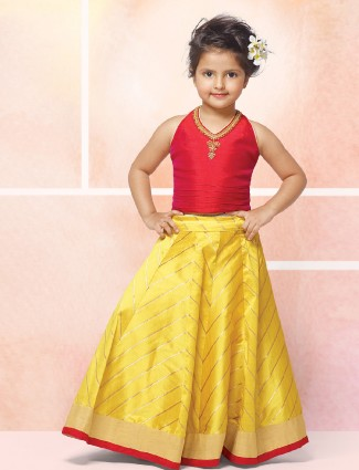 Yellow and red color party wear lehenga choli